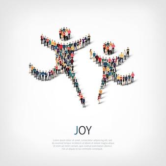 Conjunto isométrico de estilos, alegria, ilustração do conceito de infográficos da web de uma praça lotada. grupo de ponto de multidão formando uma forma predeterminada. pessoas criativas.