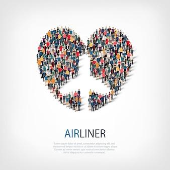 Conjunto isométrico de estilos, avião, ilustração do conceito de infográficos da web de uma praça lotada. grupo de ponto de multidão formando uma forma predeterminada. pessoas criativas.