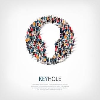 Conjunto isométrico de estilos, buraco de fechadura, ilustração do conceito de infográficos da web de uma praça lotada. grupo de ponto de multidão formando uma forma predeterminada. pessoas criativas.