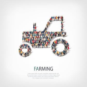 Conjunto isométrico de estilos de trator, agricultura, conceito de infográficos da web de uma praça lotada