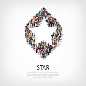 Conjunto isométrico de estilos, estrelas, ilustração do conceito de infográficos da web de uma praça lotada. grupo de ponto de multidão formando uma forma predeterminada. pessoas criativas.