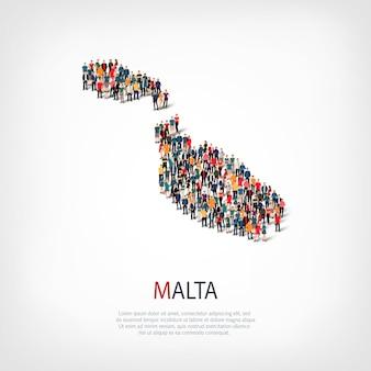 Conjunto isométrico de estilos, pessoas, mapa de malta, país, conceito de infográficos da web de espaço lotado. grupo de ponto de multidão formando uma forma predeterminada. pessoas criativas.