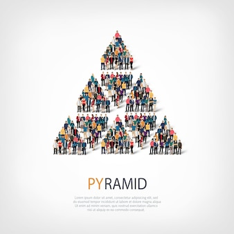 Conjunto isométrico de estilos, pirâmide, ilustração do conceito de infográficos da web de uma praça lotada. grupo de ponto de multidão formando uma forma predeterminada. pessoas criativas.