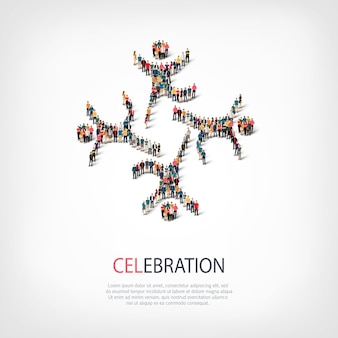 Conjunto isométrico de estilos, sinal de celebração, ilustração do conceito de infográficos da web de uma praça lotada. grupo de ponto de multidão formando uma forma predeterminada. pessoas criativas.