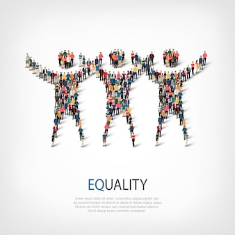 Conjunto isométrico de estilos, sinal de igualdade, ilustração do conceito de infográficos da web de uma praça lotada. grupo de ponto de multidão formando uma forma predeterminada. pessoas criativas.