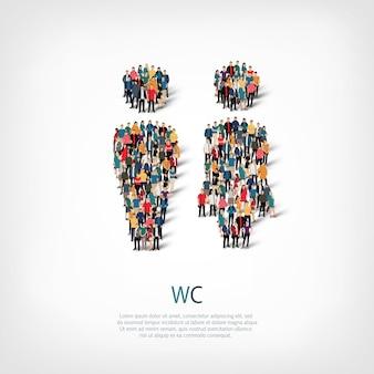 Conjunto isométrico de estilos, wc, ilustração de conceito de infográficos da web de uma praça lotada. grupo de ponto de multidão formando uma forma predeterminada. pessoas criativas.