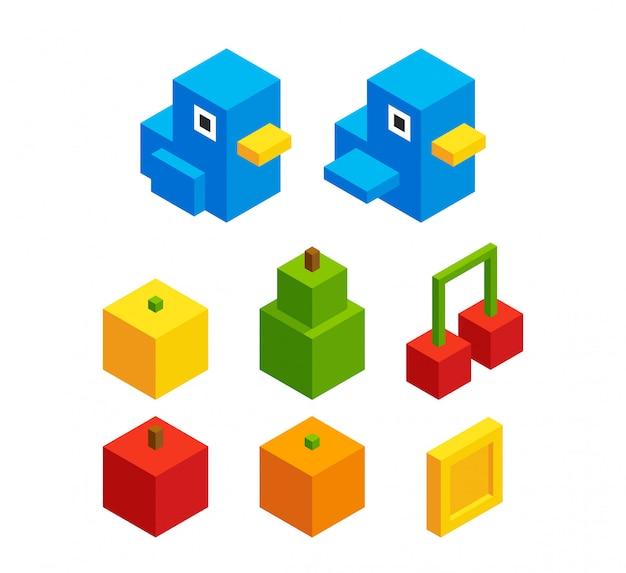 Conjunto isométrico de frutas e pássaros