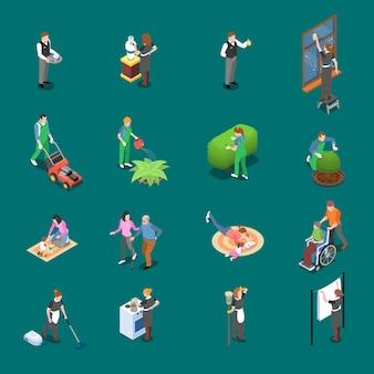 Conjunto isométrico de funcionários em casa