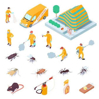 Conjunto isométrico de ícones com especialistas de serviço de controle de pragas seus equipamentos insetos e roedores 3d isolados