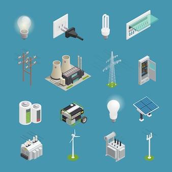 Conjunto isométrico de ícones de energia