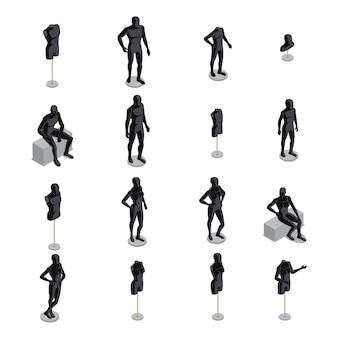 Conjunto isométrico de manequins