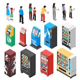 Conjunto isométrico de máquinas de venda automática