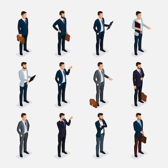 Conjunto isométrico de pessoas de negócios com homens de terno, barba estilo escritório de bigode penteado elegante isolado.