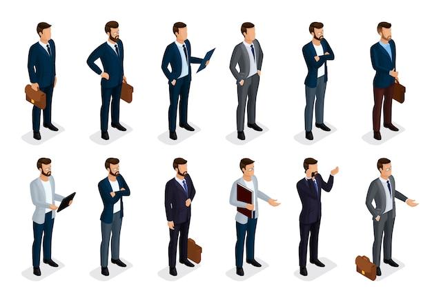 Conjunto isométrico de pessoas de negócios de homens em ternos isolados