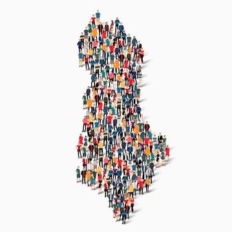 Conjunto isométrico de pessoas formando mapa da albânia