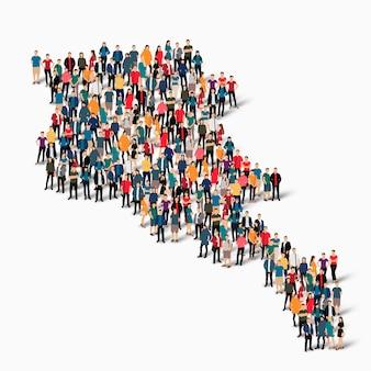 Conjunto isométrico de pessoas formando mapa da armênia