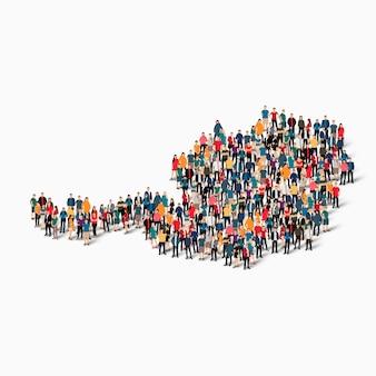 Conjunto isométrico de pessoas formando mapa da áustria