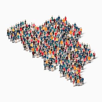 Conjunto isométrico de pessoas formando mapa da bélgica