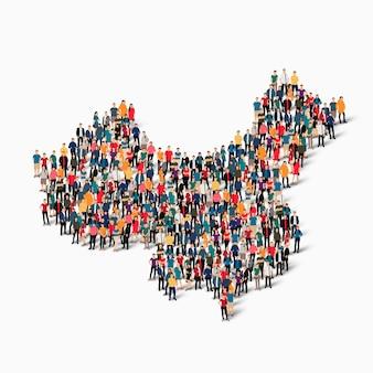 Conjunto isométrico de pessoas formando mapa da china