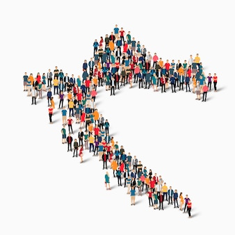 Conjunto isométrico de pessoas formando mapa da croácia