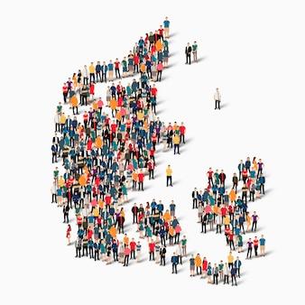 Conjunto isométrico de pessoas formando mapa da dinamarca