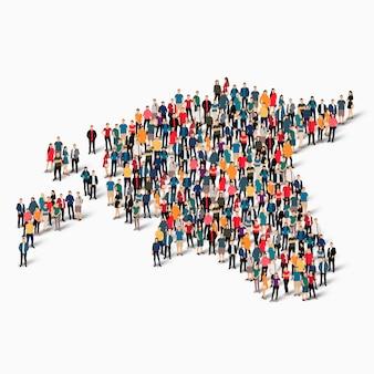 Conjunto isométrico de pessoas formando mapa da estônia