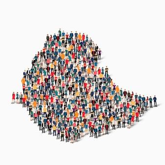 Conjunto isométrico de pessoas formando mapa da etiópia