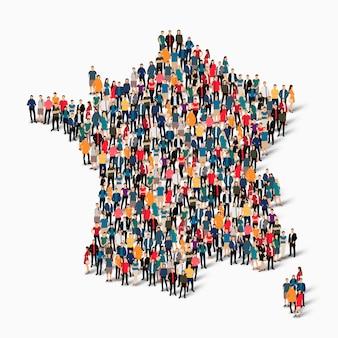 Conjunto isométrico de pessoas formando mapa da frança