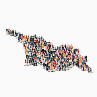 Conjunto isométrico de pessoas formando mapa da geórgia