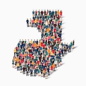 Conjunto isométrico de pessoas formando mapa da guatemala