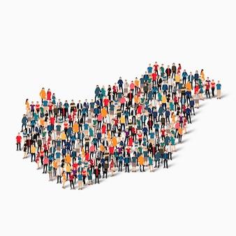 Conjunto isométrico de pessoas formando mapa da hungria
