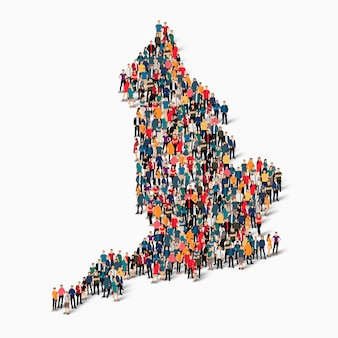 Conjunto isométrico de pessoas formando mapa da inglaterra