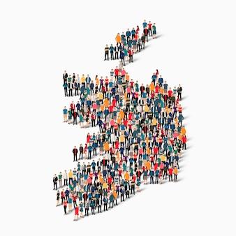 Conjunto isométrico de pessoas formando mapa da irlanda