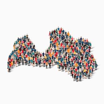 Conjunto isométrico de pessoas formando mapa da letônia