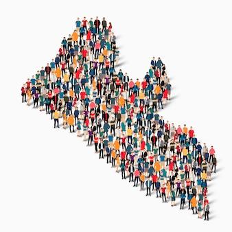 Conjunto isométrico de pessoas formando mapa da libéria