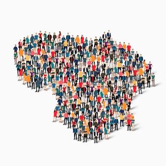 Conjunto isométrico de pessoas formando mapa da lituânia