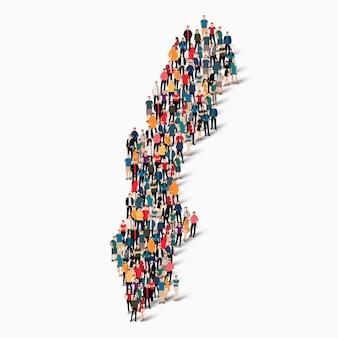 Conjunto isométrico de pessoas formando mapa da suécia