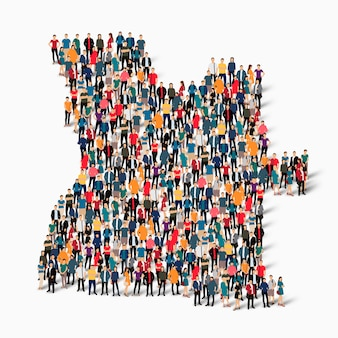 Conjunto isométrico de pessoas formando mapa de angola