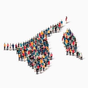 Conjunto isométrico de pessoas formando mapa de bruney