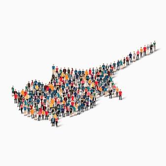 Conjunto isométrico de pessoas formando mapa de chipre