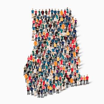 Conjunto isométrico de pessoas formando mapa de gana