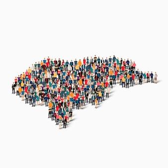 Conjunto isométrico de pessoas formando mapa de honduras