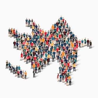 Conjunto isométrico de pessoas formando mapa do azerbaijão