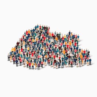 Conjunto isométrico de pessoas formando mapa do butão