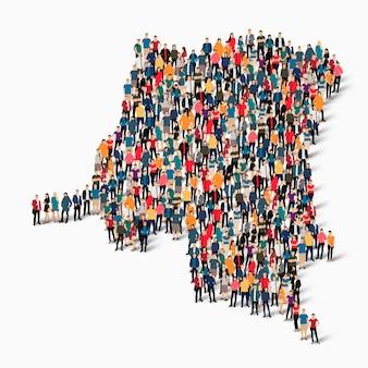 Conjunto isométrico de pessoas formando mapa do congo