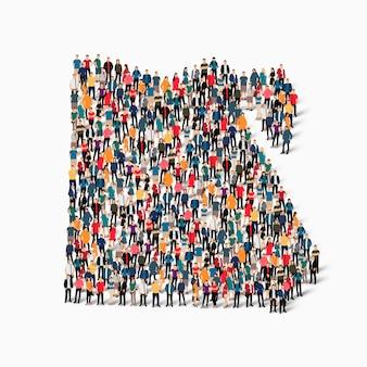 Conjunto isométrico de pessoas formando mapa do egito