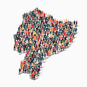 Conjunto isométrico de pessoas formando mapa do equador