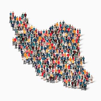 Conjunto isométrico de pessoas formando mapa do irã