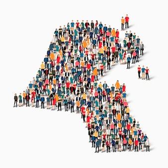 Conjunto isométrico de pessoas formando mapa do kuwait