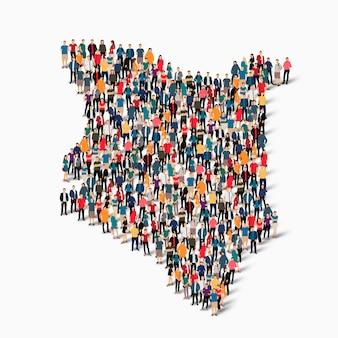 Conjunto isométrico de pessoas formando mapa do quênia